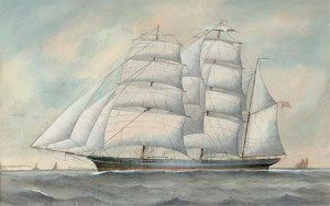 he clipper ship Cairngorm under full sail